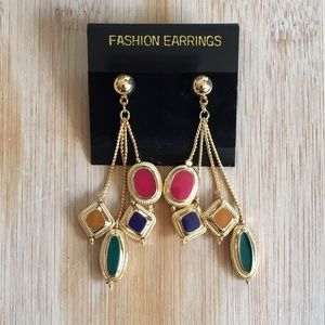 Multi color goldtone dangly fashion earrings #3